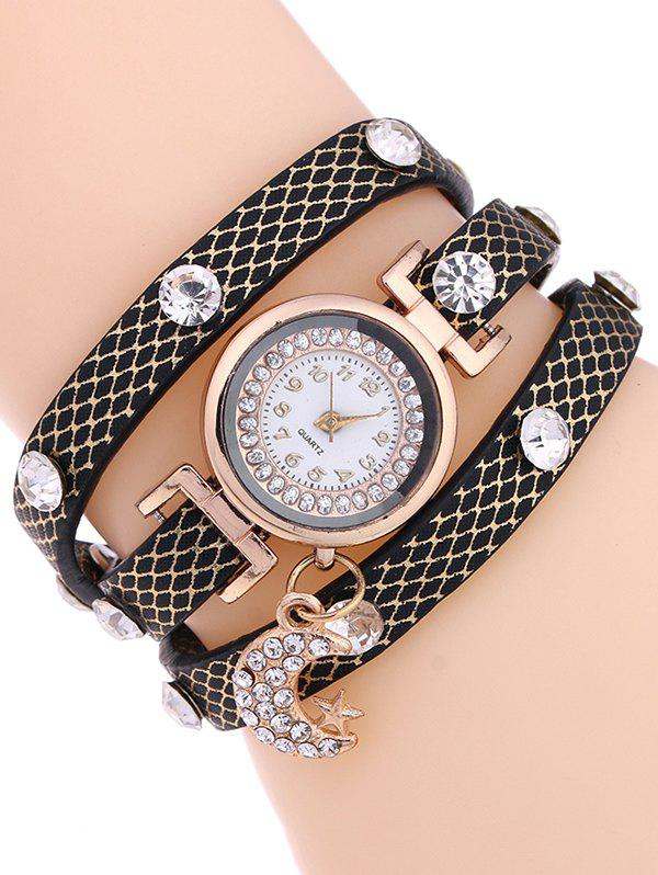 Casual Layered Rhinestone Moon Watch - BLACK