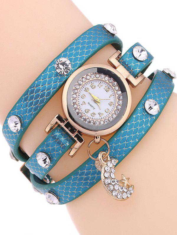 Casual Layered Rhinestone Moon Watch - LIGHT BLUE
