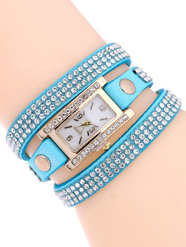 Casual Layered Rivet Rhinestone Watch - LAKE BLUE