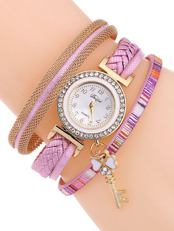 Casual Layered Clover Key Watch - SHALLOW PINK