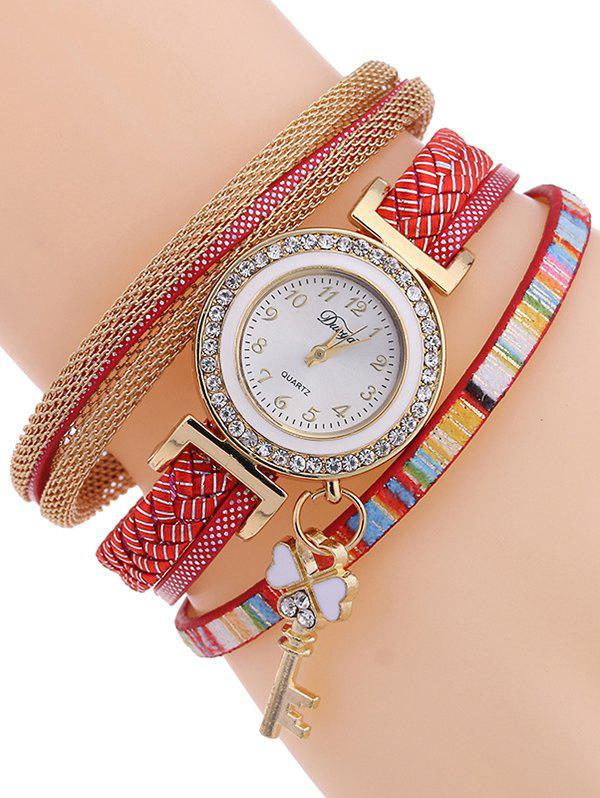 Casual Layered Clover Key Watch - RED