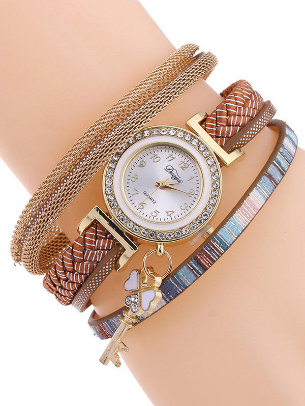 Casual Layered Clover Key Watch - GOLD BROWN
