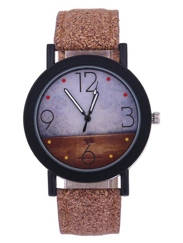 Quartz Watch with Round Dial Leather Watchband - BROWN