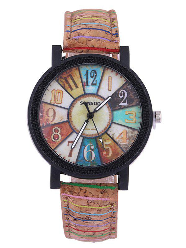 Colorful Analog PU Leather Quartz Watch - COLORFUL