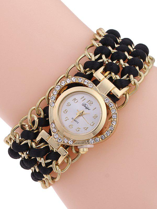 Casual Tiered Rhinestone Heart Watch - BLACK