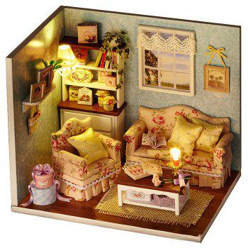 Wooden DIY Doll House Miniature Kit with LED Light Handcraft Toy