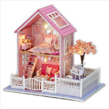 Wooden DIY Doll House Miniature Kit with LED Light Furniture Handcraft Toy