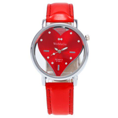 Rhinestone Heart Adorn Quartz Watch - RED