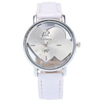 Rhinestone Double Heart Adorn Quartz Watch