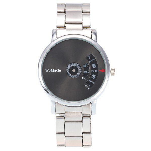 Digital Analog Steel Band Embellished Watch - BLACK