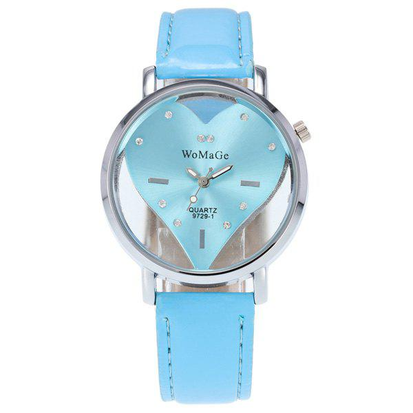 Rhinestone Heart Adorn Quartz WatchWatches<br><br><br>Color: WINDSOR BLUE