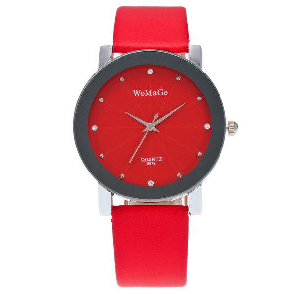 Rhinestone Dial Plate Quartz WatchWatches<br><br><br>Color: RED