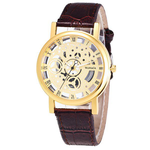 Faux Leather Roman Numerals Analog Watch - BROWN