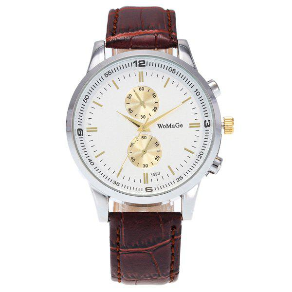 Analog Dial Plate Adorn Quartz Watch - BROWN