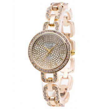 Rhinestone Alloy Chain Bracelet Watch