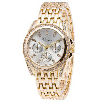Alloy Rhinestone Steel Band Quartz Watch