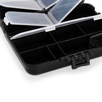 ABS + PP Material Fishing Tackle Box Fish Lure Storage Case with 15 Compartments -  BLACK