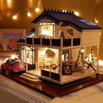 DIY Wooden Doll House Furniture Handcraft Miniature Kit with LED Light
