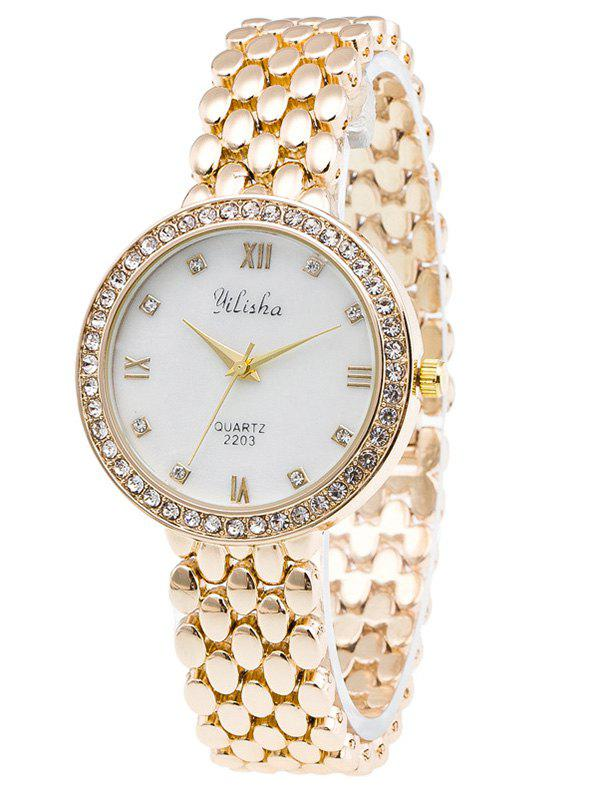 Roman Numerals Rhinestone Steel Band WatchWatches<br><br><br>Color: GOLDEN
