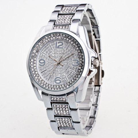 Rhinestoned Adorn Quartz Watch - SILVER