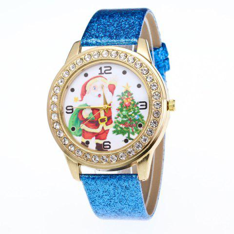 Rhinestone Christmas Tree Santa Watch - BLUE