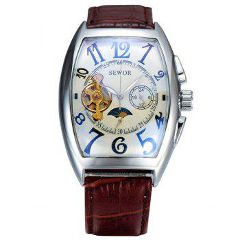 Faux Leather Geometric Mechanical Watch - BROWN