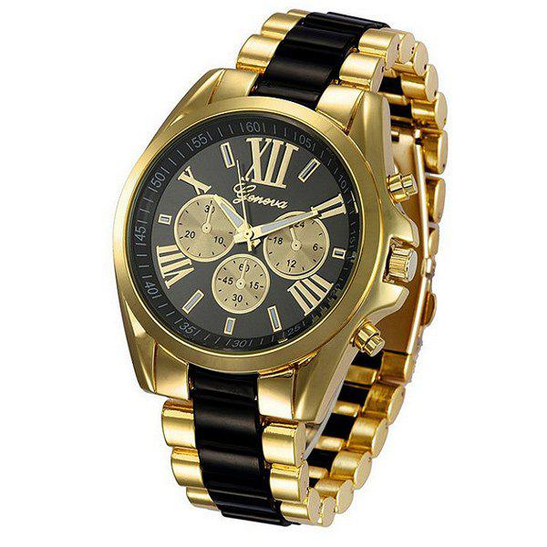Roman Numerals Adorn Steel Watch - BLACK