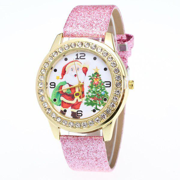 Rhinestone Christmas Tree Santa Watch - PINK