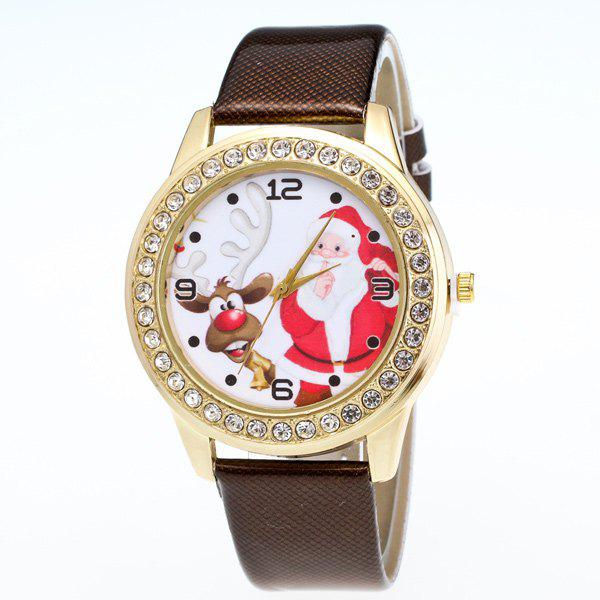 Rhinestone Christmas Elk Santa Watch - BROWN
