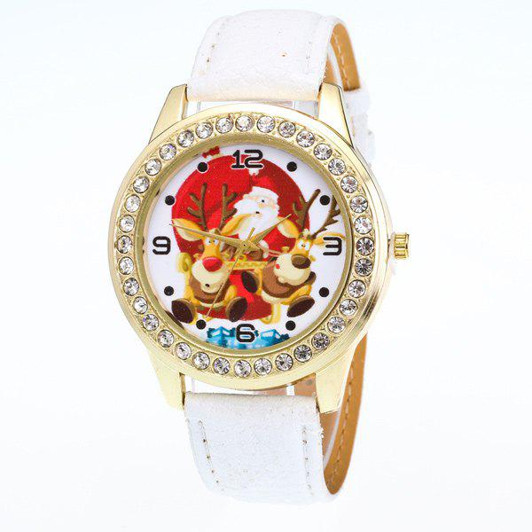 Artificial Leather Christmas Elk Santa Watch - WHITE