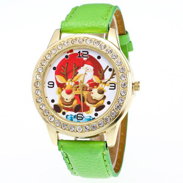 Artificial Leather Christmas Elk Santa Watch - GREEN