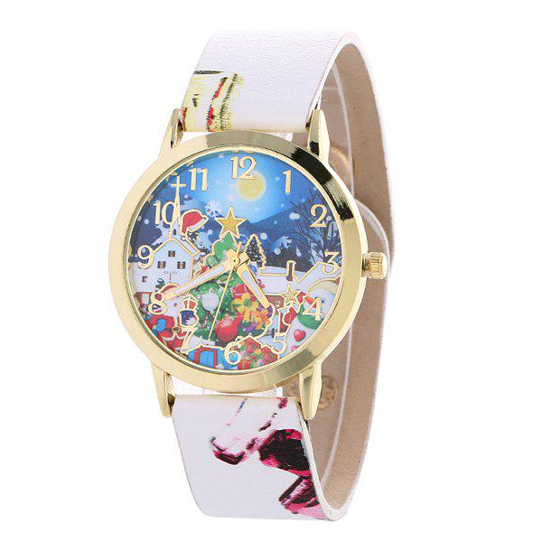 PU Leather Santa Christmas Gift WatchWatches<br><br><br>Color: WHITE