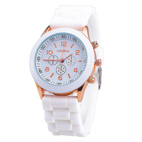 Adorn Silicone Digital Analog Watch - WHITE