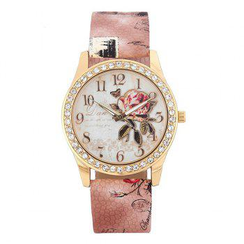 Faux Leather Rhinestone Rose Butterfly Watch