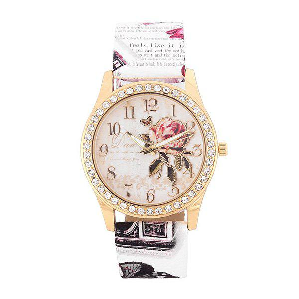 Faux Leather Rhinestone Rose Butterfly Watch - WHITE