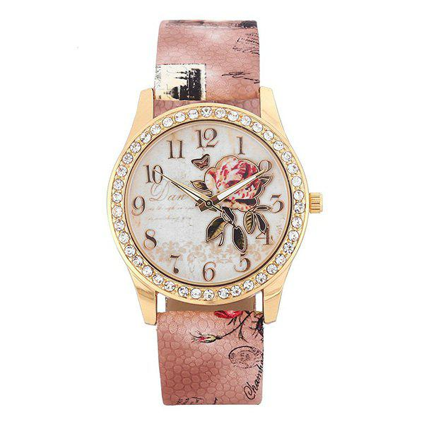 Faux Leather Rhinestone Rose Butterfly Watch - BROWN
