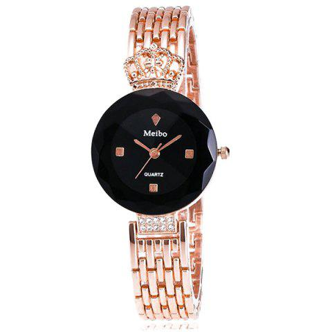 Rhinestone Crown Steel Band Quartz Watch - BLACK