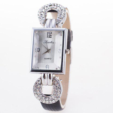 Faux Leather Rhinestone Geometric Dial Plate Watch - BLACK