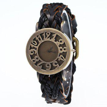 Faux Leather Braid Bracelet Watch