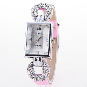 Faux Leather Rhinestone Geometric Dial Plate Watch