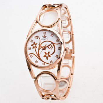 Rhinestone Flower Circle Bracelet Watch