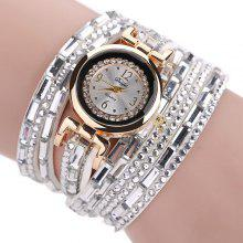 Faux Leather Rhinestoned Bracelet Watch
