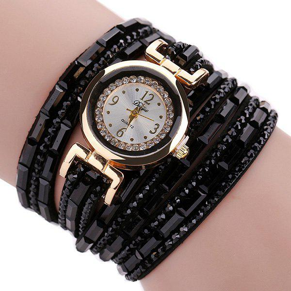 Faux Leather Rhinestoned Bracelet Watch rhinestoned faux leather bracelet