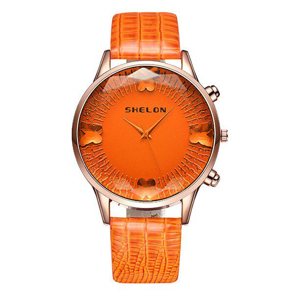 Faux Gem Butterfly Quartz Watch - ORANGE