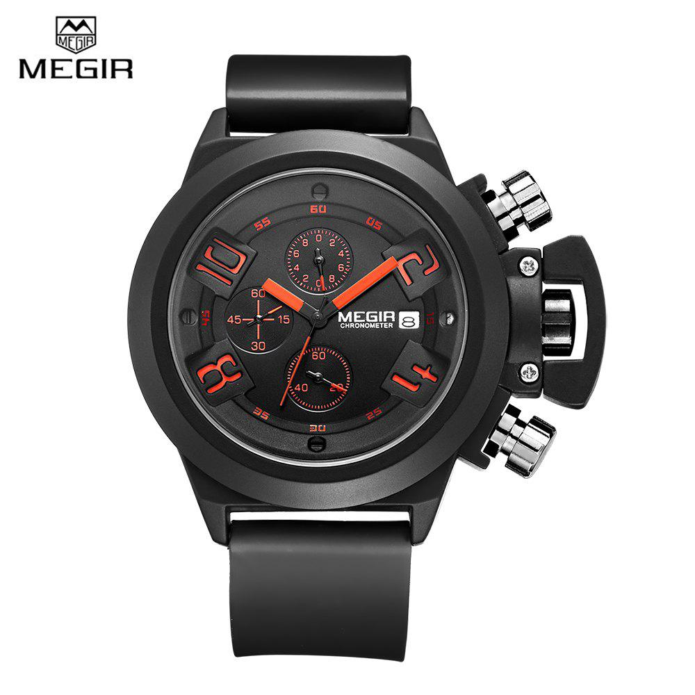 MEGIR 2002 Male Quartz Watch Date Display 30M Water Resistance Silicone Band - BLACK