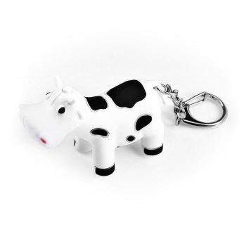 Ox Style Key Chain Hanging Pendant ABS Voice LED Light Control Bag Decoration - WHITE WHITE