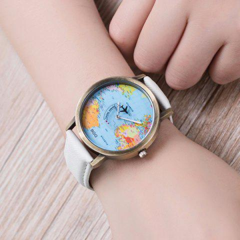 Artificial Leather World Map Airplane Watch - WHITE
