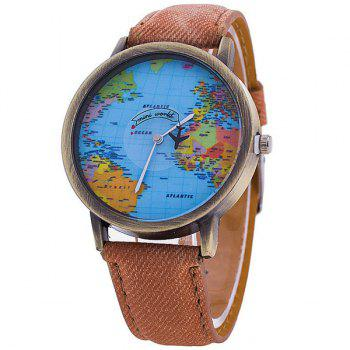 Artificial Leather World Map Airplane Watch