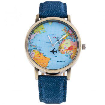 Artificial Leather World Map Airplane Watch - BLUE