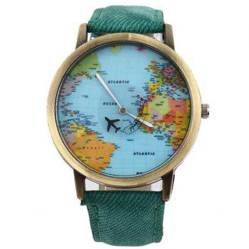 Artificial Leather World Map Airplane Watch - GREEN